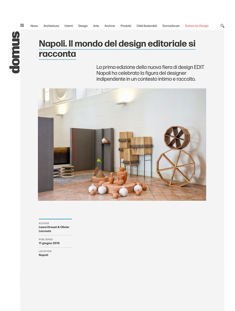 Press Domenico Orefice Domusweb 2019