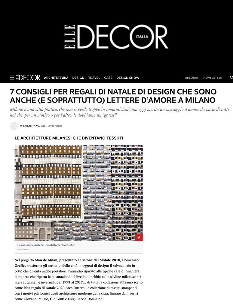 Press Domenico Orefice Elle Decor Italy 2020