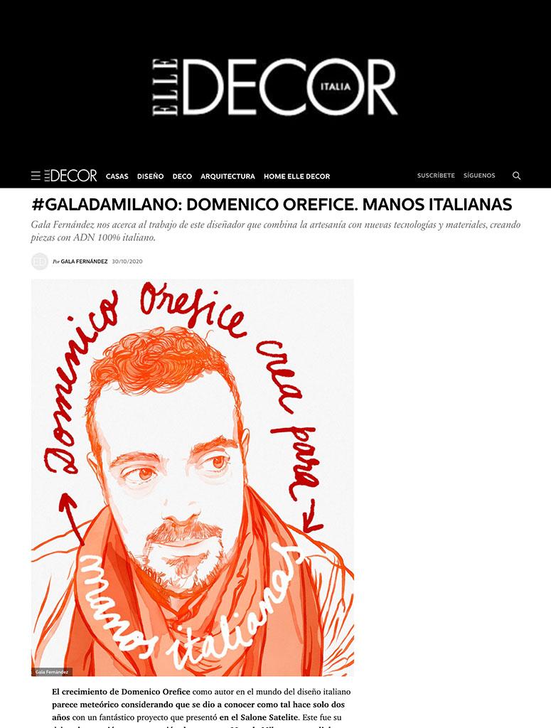 Press Domenico Orefice Elle Decor Spain 2020